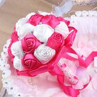 aqua silk flowers - Hot High Quality Handmade Bridal Rose Silk Bouquet Bud Flower with Ribbon Rhinestone for Wedding Decoration Aqua Blue Red Purple