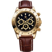 Wholesale 2015 Classic Brand Watches Men Luxury Brand Automatic Mechanical Leather Band Gold Black Dial Men s Dress Wrist Watch