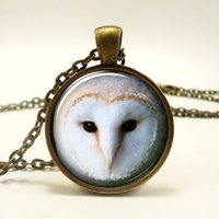 barn owl - 10pcs Barn Owl Necklace Owl Art Pendant Charm With Necklace Chain Bronze Glass Cabochon Necklace