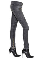 low rise jeans - BALMAIN Stretch Skinny BIKER Gray Denim Low Rise Women s Jeans Brand New Sz