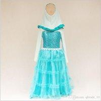 acrylic dance floor - Kid girl frozen fever dresses mullin Turban party Net yarn lace princess dress costume cosplay dress dance sequins tutu dresses TOPB3797