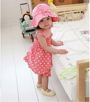 Wholesale 2014 Summer children girls pink dot harness dress three piece set B001