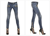Wholesale 2015 Fashion Women BALMAIN Blue Wash Skinny Zip Ankle Motorcycle Biker Jeans Brand New Sz