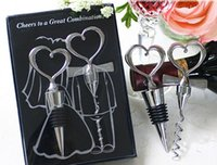 Wholesale New Novelty Great Combination Wedding Favors Heart Wine Bottle Stopper Opener Supplies Luxury Gift Box Packing