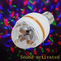 automatically mini lights - Mini RGB LED Stage Light W E27 Bulbs Automatically Rotating Sound activated AC85 V Stage Lighting