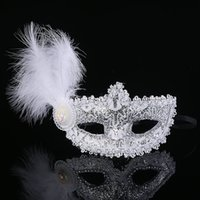 Wholesale 2015 High end Lace Venice Mask Masquerade Leather Feathers Masks Dance Mask Half Mask Princess Dance Party Mask