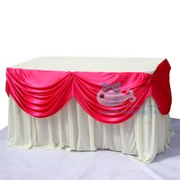 Wholesale White Color Ice Silk Table Skirt Used For Round Or Rectangular Tables Include Fuchsia Swag Drape