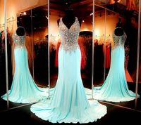 Cheap Fashion Aqua Formal Evening Gowns Chiffon Long Fitted Prom Dress Halter Chiffon Formal Dresses Long robe de soiree 2015 MG06
