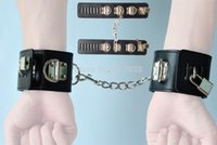 leather sex wear - 2 Locks Black faux Leather Hand Wrist restraint Cuffs for Adult Sex Game Slave female wear Cop Costume Cosplay Toys Sexy Women