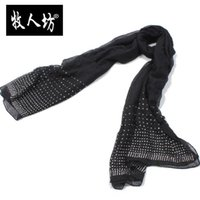 Wholesale Free shippping ladies oblong scarf hijabs black rhinestone
