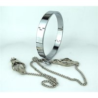Cheap Stainless Steel Collar with Butterfly Nipple Clamps Rolled Necklace Slave Neck Ring Top Quality Sex Toys Adult Bondage BDSM Sex Products