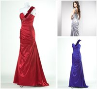 Cheap Reference Images Long evening dress Best One-Shoulder Satin formal dress grey