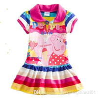 Wholesale Peppa Pig Cute Girls Kids Cotton Striped Short Sleeve Party Colorful Dress