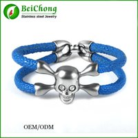 baseball bc - BC Customize New Arrival baseball stingray leather skull bracelet Luxury man Skull Bracelet handmade high qaulity leather bracelet BC