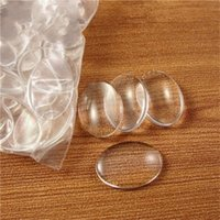 Wholesale 100pcs transparent clear flatback oval glass cabochon dome handmade photo DIY jewelry Findings x25mm