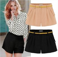 Wholesale 2015 Summer Women Chiffon Shorts Plus Size S XL Casual Shorts With Belt Black White Pink