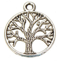 tree jewelry charms - metal tree charms vintage silver gold bronze plants life of tree new diy fashion jewelry accessories suppliers for jewelry mm