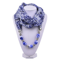 scarf necklace - New Women Scarves Double Layer Printed Jersey Pendant Scarf with Glass Beads Charm Necklace Jewelry SC150097