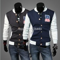 alphabet embroidery designs - Fall new fashionable baseball shirt Stitching design alphabet embroidery men s casual plus thick velvet jacket coat