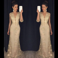 Wholesale Lace Evening Dresses with Sleeves V Neck Elow Length Full Length Mother of the Bride Dresses Long Evening Gowns with Appliques