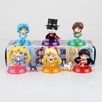 Wholesale 6pcs set Anime Sailor Moon Action Figure Q Verison Mars Jupiter Venus Mercury Children Toys Model Kid Toys Baby Dolls Brinquedos sets