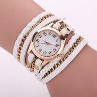 Precio de Gifts-Hermoso Regalo de cuero trenzado pulsera del abrigo de piel sintética analógico reloj pulsera de cuarzo de pulsera de mujeres envío libre de DHL 11 colores 60167