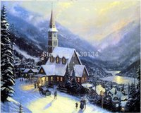 Fabric colored full housing - Christmas house Diy square drill full rhinestone pasted full embroidery cross stitch diamond rhinestone pasted painting EL257