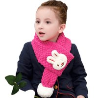 baby girl head scarf - Retail Children Girls Cute Smile Little Rabbit Head Knitted Bobbles Scarf Solid Pink Baby Kids Winter Warm Scarves WJ8331