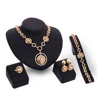 amethyst ring sale - hot sale jewelry set women alloy pendant necklace earrings bracelet ring wedding party bride socialite jewelry set
