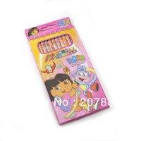 Wholesale 12pcs set Dora The Explorer Cartoon Drawing Pencil Lovely Twelve Colour Pencil Painting Pencil A2060