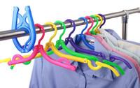 Wholesale 20pcs Travel Portable Folding Hangers Mix Colors Plastic Coat Hanger Foldable Clothes Hangers Portable