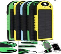 Wholesale 5000mAh Solar Charger and Battery Solar Panel portable power bank for Cell phone Laptop Camera MP4 With Flashlight waterproof