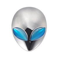 Wholesale Silver Car D Logo Metal Aliens Auto Truck Motorcycle Emblem Badge Sticker Decal Blue Eyes