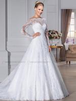 Wholesale 2015 Elegant Bateau Wedding Dresses with Sheer Lace Back Beach Bridal GownsA Line Appliques Long Sleeve Wedding Gown Bridal Dress