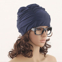 Wholesale Sexy Women Girls Drape Stretch Long Hair Swim Cap Hat Bathing Swimming Cap Summer