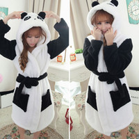 bath brown - Hot Sale Winter Lady Pajamas Bath Robe Sleepwear Women Coral Velvet Bathrobes Women Cartoon Panda Homewear Asia Size M L JB0099