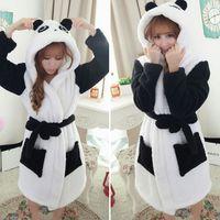 al por mayor pijama de terciopelo-Venta caliente Invierno Señora Pijamas Bath Robe Pijamas Mujeres Coral Velvet Albornoces Mujer Cartoon Panda Homewear Asia Tamaño M-L JB0099