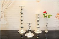 wedding candle holder - Silver iron metal cylinder candle holder set pillar candle stand candlestick for home candle holders wedding decoration B