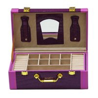 Wholesale New Fashion multi layer Big Princess Jewelry Box portable vanity case make up case vintage gift for women girls of purple colour