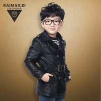 belted down jacket - Boys Leather Clothing Winter Hot Children Leisure Jacket With Belt Long Style Double breasted Children Outwear Fit Age T1663