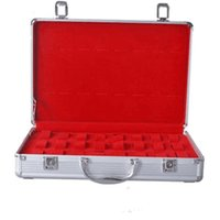 aluminum jewelry display case - 32 Grids Top Watch Display Storage Case Box Aluminum Alloy Jewelry Organizer Cases Holder for Watch Red