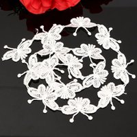 accessories ge - Lovely White Crochet Embroidered Butterfly Lace Trim Home Applique Decor Lace Ed ge Trim DIY Craft Accessory