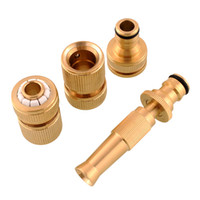 Chicken Pipe none 4Pcs Brass Threaded Hose Water Pipe Tap Connectors Spray Nozzle Snap Adaptor Fitting Garden Outdoors Spray