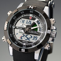 Wholesale SHARK Brand Military relogio digital Analog Dual Time Alarm Silicone Strap Wristwatch Black Quartz Army Wrist Men Sport Casual Watch SH042