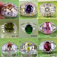 Wholesale HOT Colorful Big Rings Solitaire Yellow Purple Pink White Burgundy Red Round Rectangle Cut Topaz Sliver Plated Princess Wedding Lady Ring