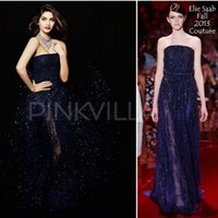 Cheap Glamorous New Srapless Dark Navy Lace Sonam Kapoor Celebrity Inspired Gown Sleeveless Beaded Elie Saab Couture Runway Fashion Evening Dress