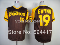 throwback jerseys - stitched men s baseball jersey san diego Tony Gwynn brown throwback Baseball Jerseys Embroidery logos