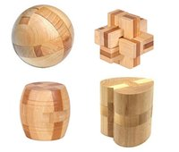 bamboo interlock - D Wooden Bamboo Puzzle Set IQ Test Interlocking Burr Brain Teaser Puzzlew Game for Adults and Kids