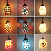 cafe lights - Bohemian Style Colorful Mosaic Glass Shell Pendant Light Cafe Restaurant lamp