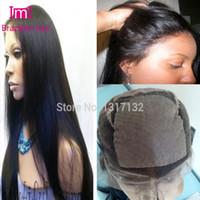 Wholesale 4x4 Yaki Straight Silk Base Wigs Virgin Brazilian Human Hair Yaki Silk Top Lace Front Wig Glueless Full Lace Wig